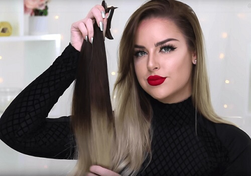 hair extensions Half-Up Top Knot Style